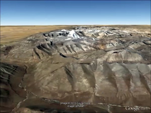 Google Earth image of Mount Kailash in remote Western Tibet.